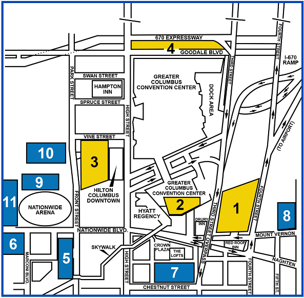 Map showing parking areas